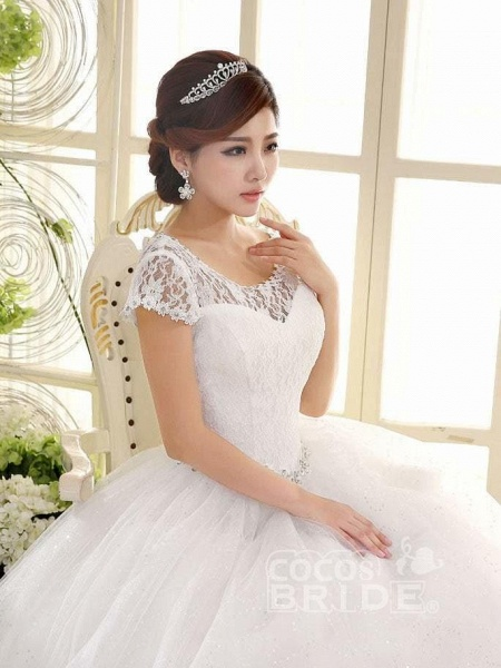 Cheap Bridal Beaded Sequin Crystal Lace Wedding Dress_2