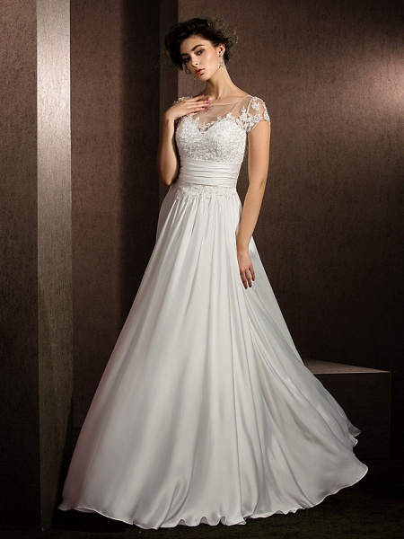 A-Line Wedding Dresses Scoop Neck Floor Length Satin Chiffon Short Sleeve Casual Plus Size_8