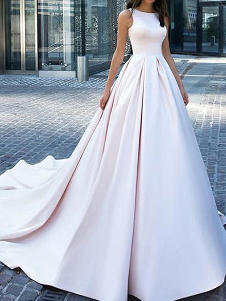 A-Line Wedding Dresses Jewel Neck Sweep \ Brush Train Satin Sleeveless Country Plus Size_1