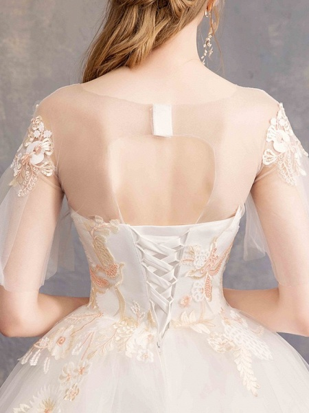 Ball Gown Wedding Dresses Bateau Neck Maxi Lace Tulle Short Sleeve Glamorous See-Through Backless_6