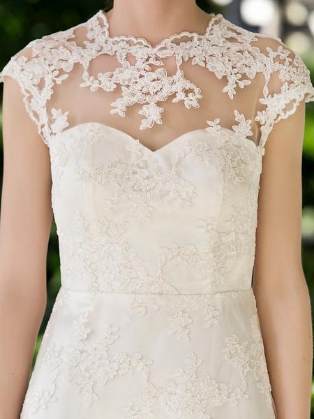 A-Line Sheath \ Column Wedding Dresses Jewel Neck Knee Length Floral Lace Cap Sleeve Vintage Little White Dress Illusion Detail Backless_7