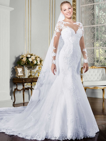 Mermaid \ Trumpet Wedding Dresses Bateau Neck Chapel Train Lace Tulle Lace Over Satin Long Sleeve Beautiful Back Illusion Sleeve_2