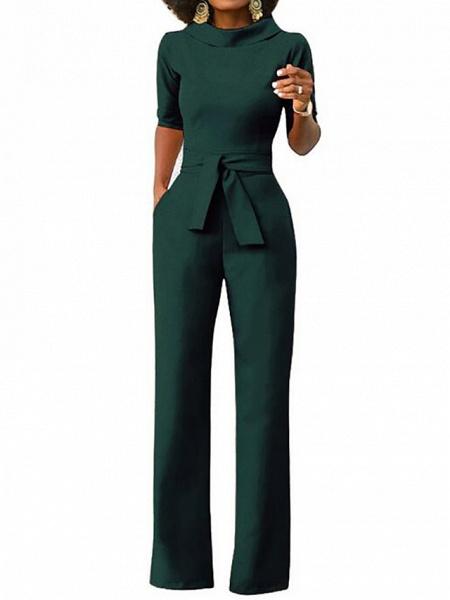 Women's Wide Leg Daily \ Weekend Turtleneck Wine White Black Wide Leg Slim Jumpsuit_5