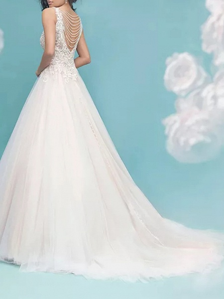 Ball Gown V Neck Sweep \ Brush Train Lace Tulle Sleeveless Formal Casual Plus Size Wedding Dresses_3