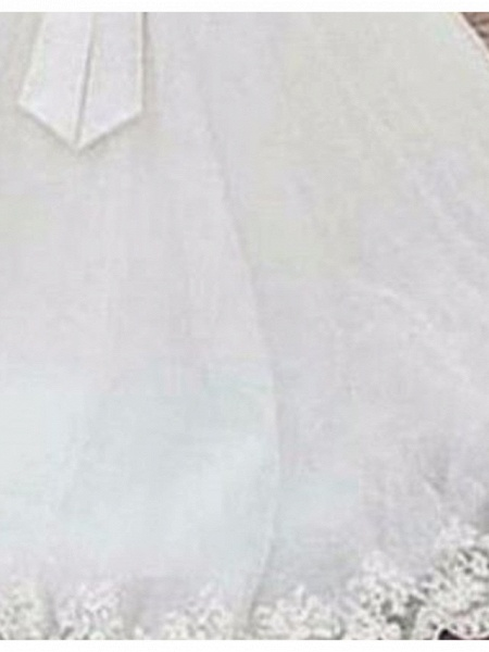 A-Line Wedding Dresses Jewel Neck Sweep \ Brush Train Tulle Regular Straps_3