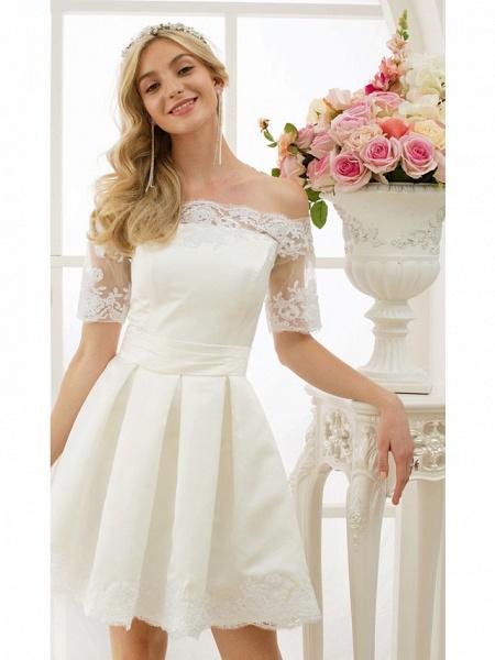 A-Line Wedding Dresses Off Shoulder Short \ Mini Satin Half Sleeve Formal Casual Illusion Detail_6