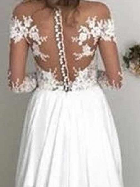 A-Line Wedding Dresses Off Shoulder Sweep \ Brush Train Chiffon Taffeta Stretch Satin Long Sleeve Country Sexy Plus Size_3