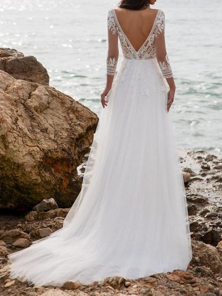 A-Line Wedding Dresses V Neck Sweep \ Brush Train Tulle 3\4 Length Sleeve Beach Illusion Sleeve_3