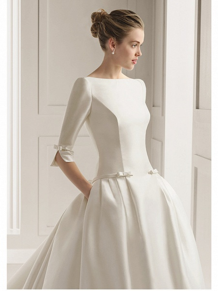 A-Line Wedding Dresses Bateau Neck Court Train Polyester Half Sleeve Sexy Plus Size_1