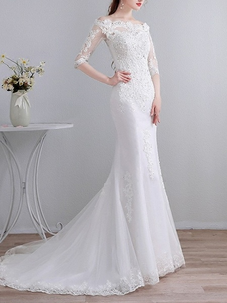 Mermaid \ Trumpet Wedding Dresses Off Shoulder Sweep \ Brush Train Lace 3\4 Length Sleeve Casual_2