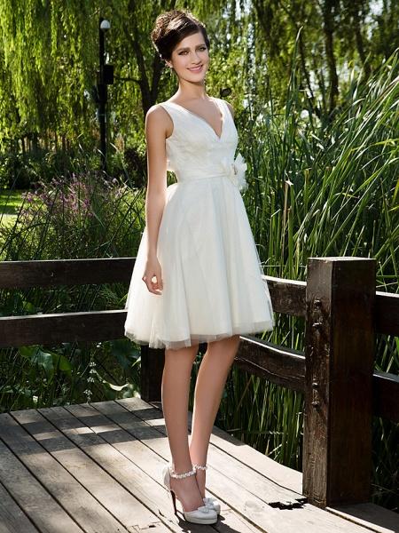 Ball Gown Wedding Dresses V Neck Knee Length Tulle Sleeveless See-Through_3