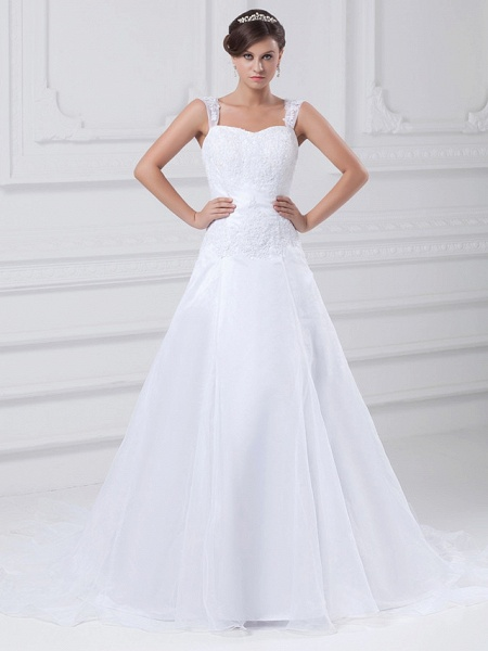 A-Line Wedding Dresses Square Neck Chapel Train Lace Organza Satin Regular Straps_1