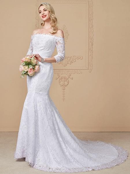 Mermaid \ Trumpet Wedding Dresses Off Shoulder Court Train Lace Sequined 3\4 Length Sleeve Romantic Plus Size Illusion Sleeve_2