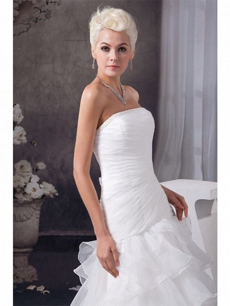 Mermaid \ Trumpet Strapless Chapel Train Organza Satin Strapless Plus Size Wedding Dresses_4