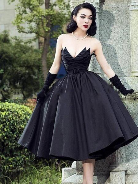 A-Line Wedding Dresses Strapless V Neck Tea Length Tulle Polyester Strapless Sexy Black_1