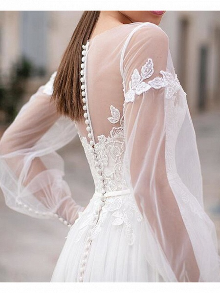 A-Line Wedding Dresses Jewel Neck Floor Length Lace Tulle Long Sleeve Country Plus Size Illusion Sleeve_2