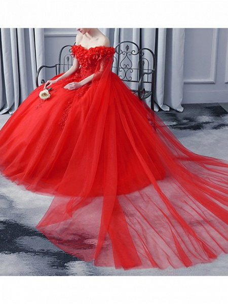 A-Line Wedding Dresses Off Shoulder Court Train Lace Tulle Sleeveless Casual Plus Size Red_1
