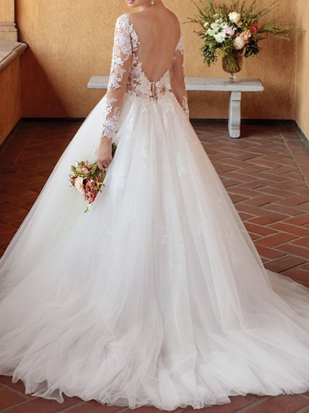 Ball Gown Wedding Dresses V Neck Chapel Train Tulle 3\4 Length Sleeve Sexy Wedding Dress in Color See-Through_2
