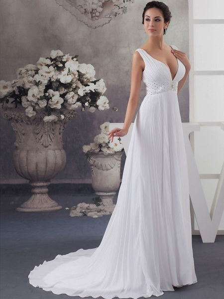 A-Line Wedding Dresses V Neck Chapel Train Chiffon Satin Regular Straps_2
