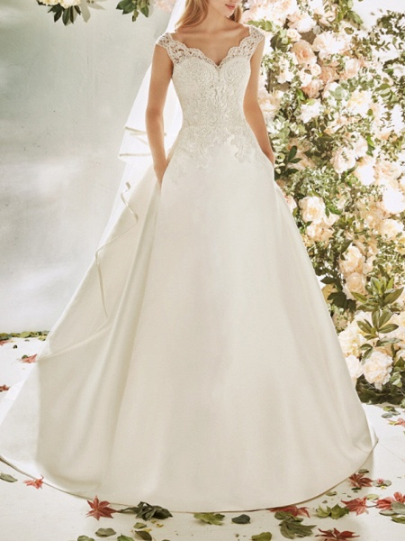 A-Line Wedding Dresses V Neck Sweep \ Brush Train Lace Tulle Cap Sleeve Vintage Sexy Wedding Dress in Color Backless_1