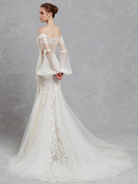 Mermaid \ Trumpet Off Shoulder Court Train Lace Tulle Long Sleeve Romantic Boho See-Through Backless Illusion Sleeve Wedding Dresses_2