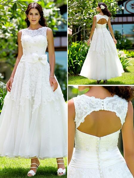 A-Line Wedding Dresses Bateau Neck Ankle Length Lace Regular Straps Little White Dress_6