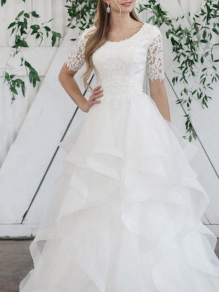 Ball Gown Wedding Dresses Jewel Neck Sweep \ Brush Train Lace Organza Short Sleeve Vintage_3