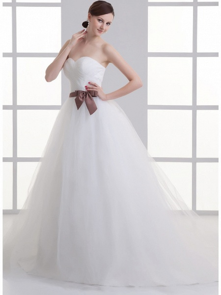 A-Line Wedding Dresses Sweetheart Neckline Court Train Lace Satin Tulle Strapless_3
