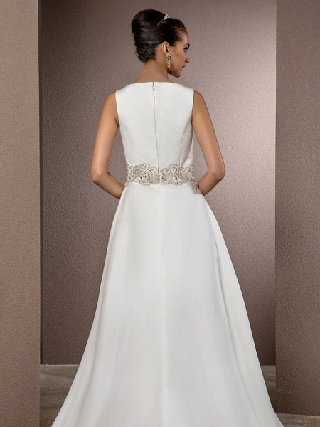 Mermaid \ Trumpet Wedding Dresses Bateau Neck Cathedral Train Satin Regular Straps Vintage Inspired_6