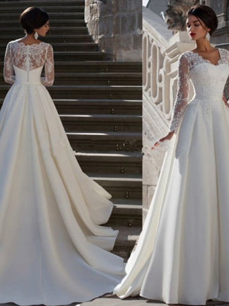 A-Line Wedding Dresses Strapless Court Train Lace Satin Long Sleeve Formal_3