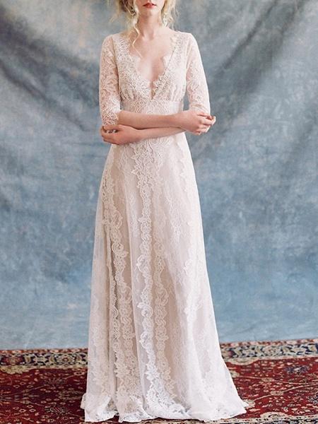 A-Line Wedding Dresses V Neck Floor Length Lace Tulle Half Sleeve Formal Boho Plus Size Illusion Sleeve_1