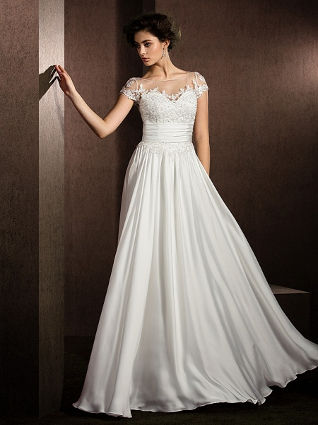 A-Line Wedding Dresses Scoop Neck Floor Length Satin Chiffon Short Sleeve Casual Plus Size_4