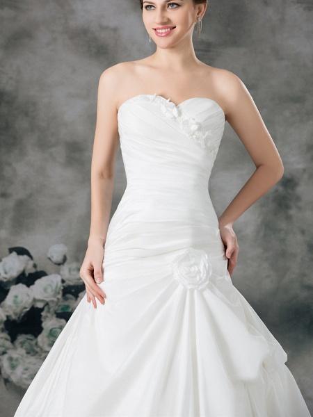 A-Line Sweetheart Neckline Court Train Satin Taffeta Strapless Wedding Dresses_5