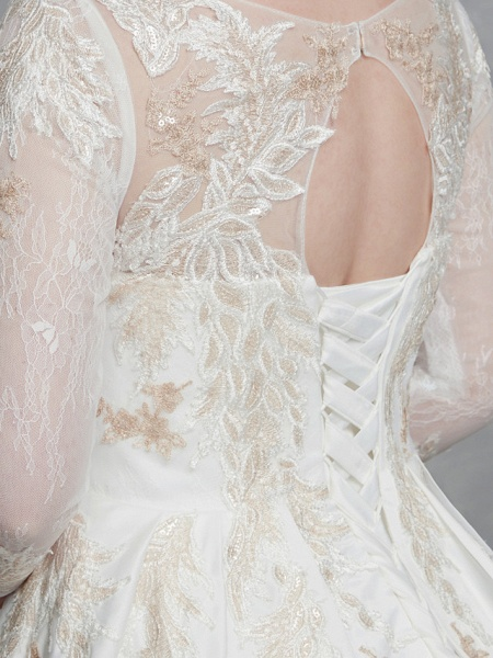 A-Line Wedding Dresses Scoop Neck Court Train Lace Satin Long Sleeve Romantic Glamorous See-Through Illusion Sleeve_10
