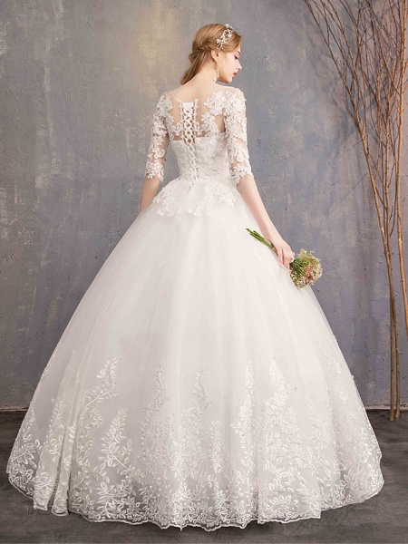 Ball Gown Wedding Dresses Bateau Neck Maxi Lace Tulle Half Sleeve Glamorous Illusion Sleeve_5