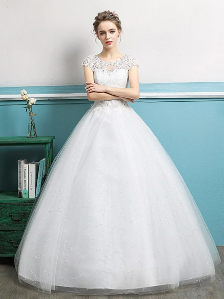 Ball Gown Wedding Dresses Jewel Neck Floor Length Lace Tulle Polyester Short Sleeve Romantic_1