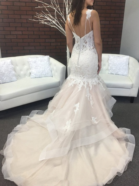 Mermaid \ Trumpet Spaghetti Strap Sweep \ Brush Train Lace Tulle Sleeveless Sexy Backless Wedding Dresses_2