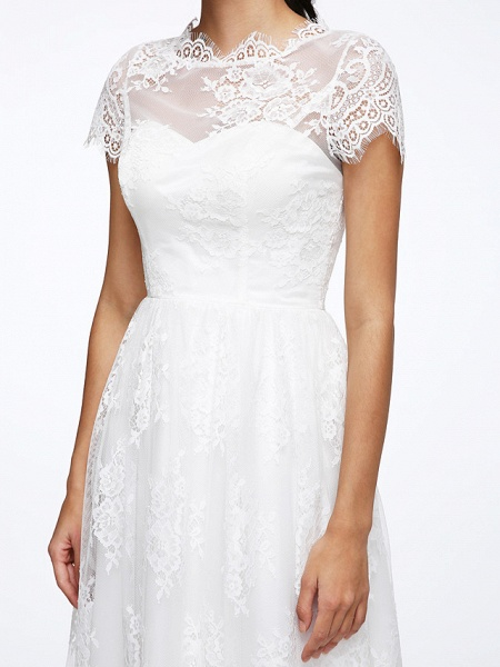 A-Line Wedding Dresses Jewel Neck Tea Length Lace Short Sleeve Simple Casual Illusion Detail Backless_9
