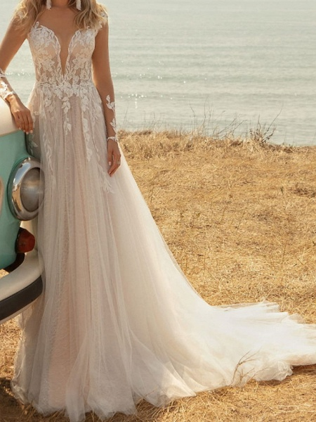 A-Line Wedding Dresses V Neck Sweep \ Brush Train Lace Tulle Jersey Long Sleeve Country Plus Size Illusion Sleeve_3