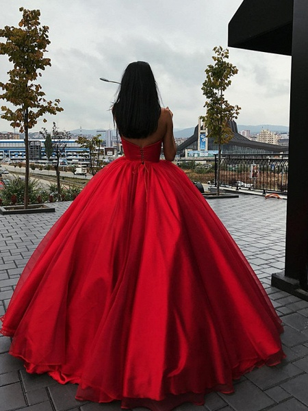 Ball Gown Wedding Dresses Strapless Floor Length Organza Strapless Plus Size Wedding Dress Red_2