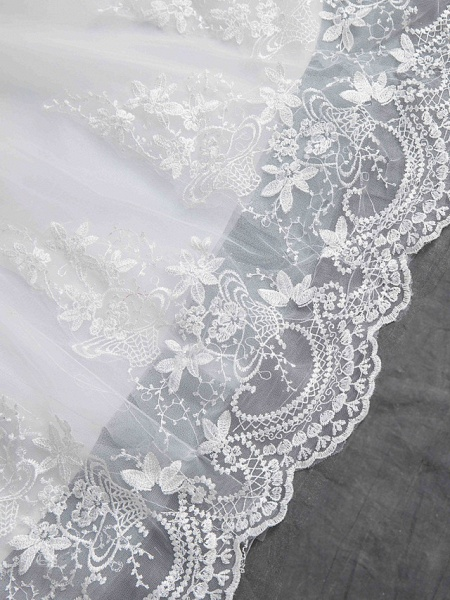 Ball Gown Wedding Dresses Scoop Neck Chapel Train Lace Tulle Sequined Half Sleeve Glamorous See-Through Illusion Sleeve_6