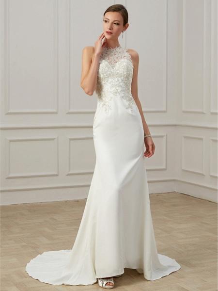 Mermaid \ Trumpet Wedding Dresses Jewel Neck Sweep \ Brush Train Lace Tulle Sleeveless Formal Illusion Detail Plus Size_4