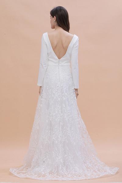 Long Sleeve V-neck Boho Bridal Gowns Satin Backless Lace Wedding Dress_6