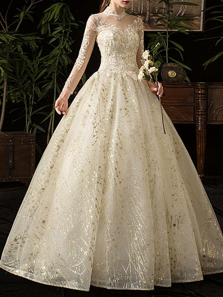 A-Line Wedding Dresses Jewel Neck Floor Length Lace Tulle Long Sleeve Formal Plus Size Illusion Sleeve_3