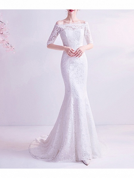 Mermaid \ Trumpet Wedding Dresses Off Shoulder Court Train Chiffon Tulle Half Sleeve Formal Illusion Detail Plus Size_1