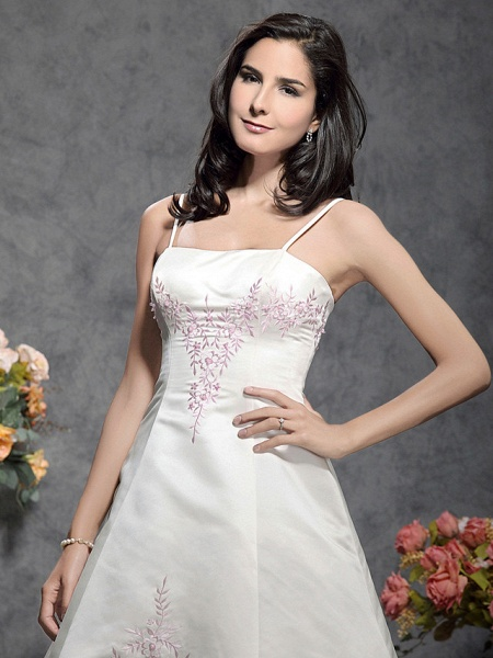 Princess A-Line Wedding Dresses Square Neck Floor Length Satin Tulle Spaghetti Strap Wedding Dress in Color_3