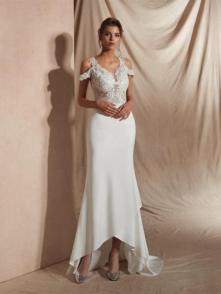 Mermaid \ Trumpet Wedding Dresses V Neck Asymmetrical Matte Satin Short Sleeve Casual Sexy Illusion Detail Modern_9