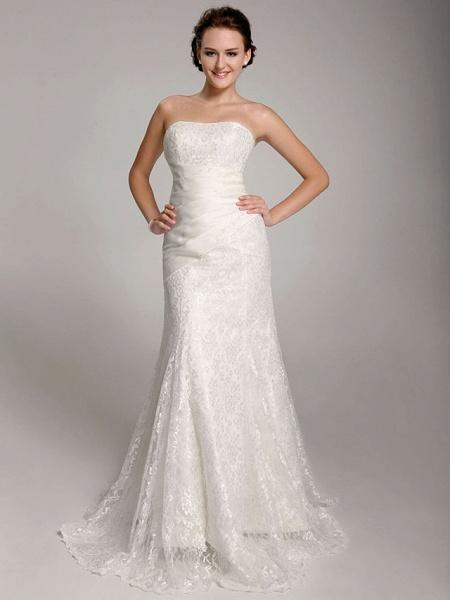 Mermaid \ Trumpet Wedding Dresses Straps Floor Length Lace Short Sleeve See-Through_6