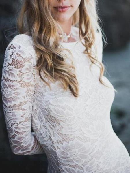 Mermaid \ Trumpet Wedding Dresses Jewel Neck Sweep \ Brush Train Lace Long Sleeve Sexy_3