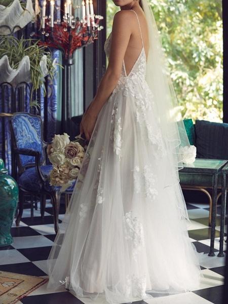 A-Line Plunging Neck Sweep \ Brush Train Tulle Polyester Sleeveless Boho Plus Size Wedding Dresses_4